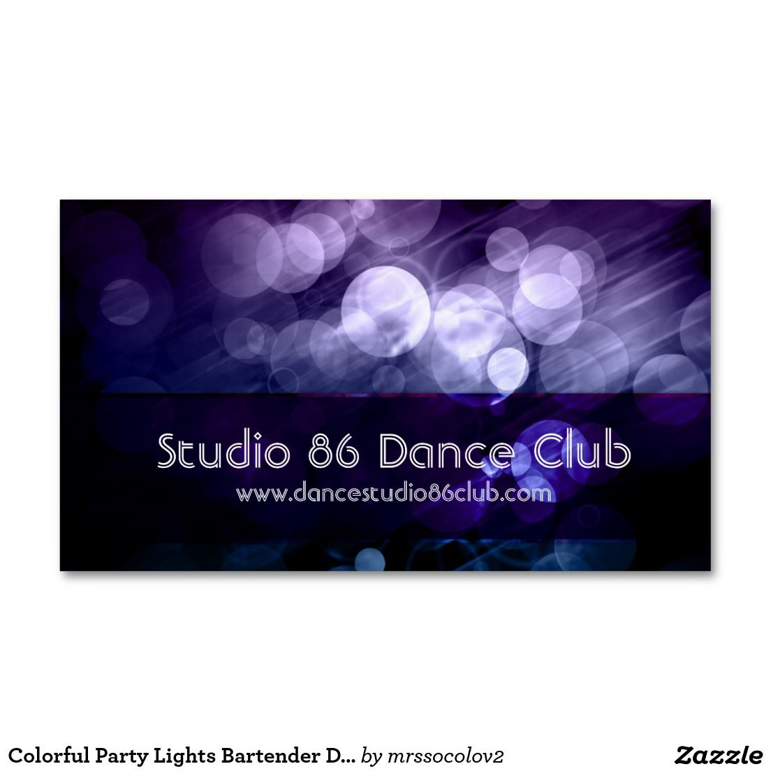 Colorful Party Lights Bartender DJ Business Cards | Business Cards ...