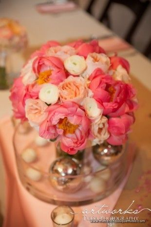 Peach Garden Rose Bouquet bridal bouquet of coral peonies, peach garden roses, and white