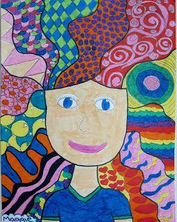 Art Class Ideas Crazy Hair Portraits Elementary Art Kindergarten Art Kids Art Projects
