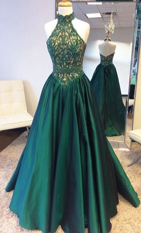 Dark Green Satin Prom Dresses,Beaded Bodice High Neck | What I would ...