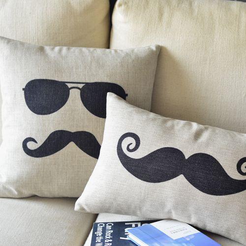 Mr Moustache Linen Pillow Cover