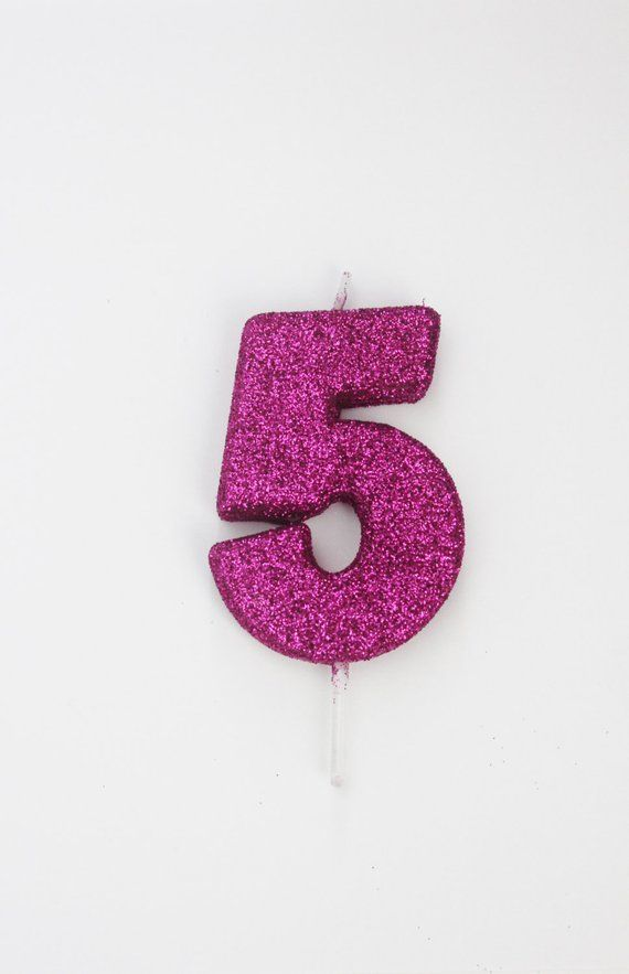 GLITTER HOT PINK Candle Number Birthday Cake Candles Magenta Fuchsia Photo Prop Smash 1st 2nd 3
