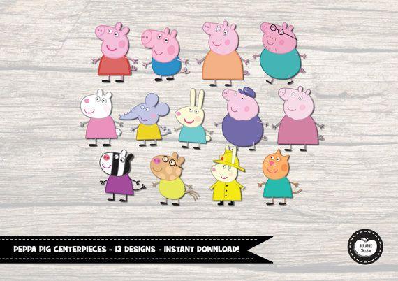 13x PEPPA PIG CENTERPIECES. Instant Digital por RedAppleStudio