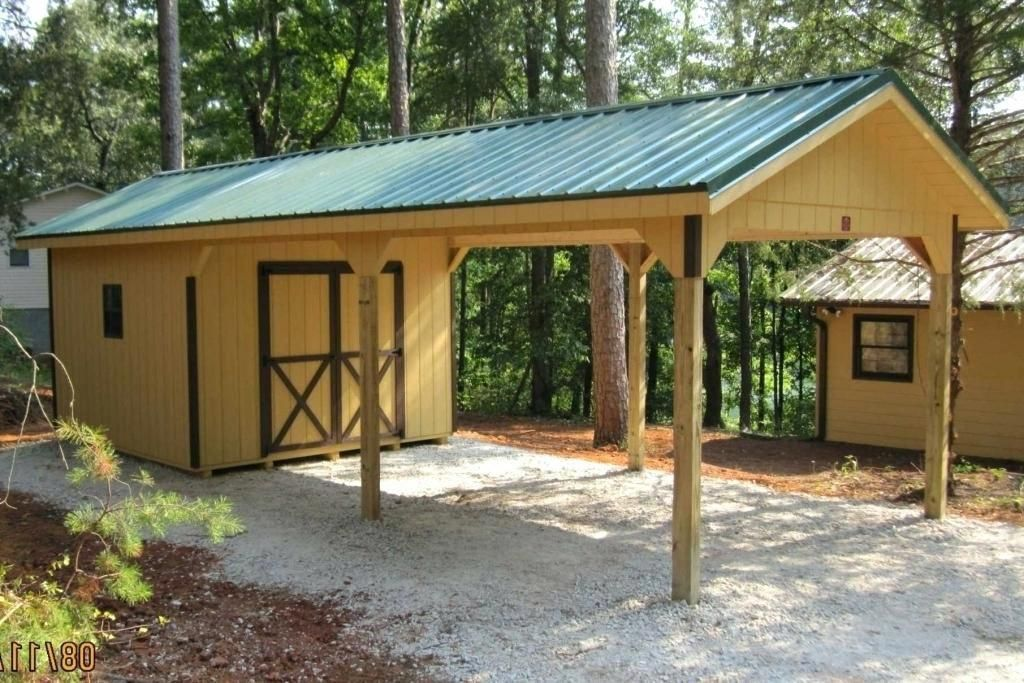 Carport with Storage Shed Attached To Wall