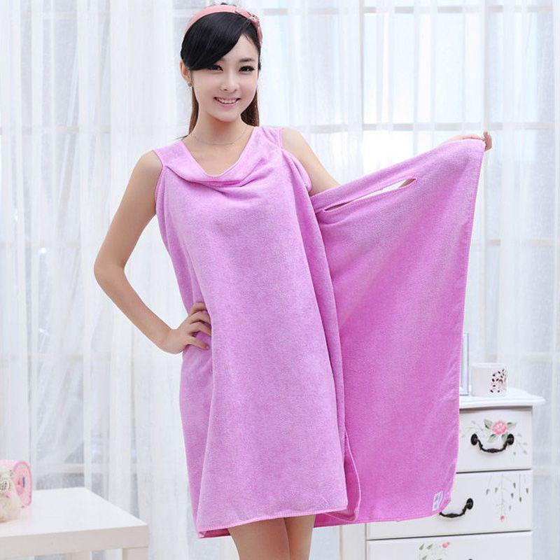 1305e1e4e4 165x80cm Thickened Microfiber Bath Towel Skirt For Women Absorbent Wearable  Beach Towel