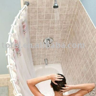 Luxury Over Bath Shower Curtain Rails And Rings Curved Corner