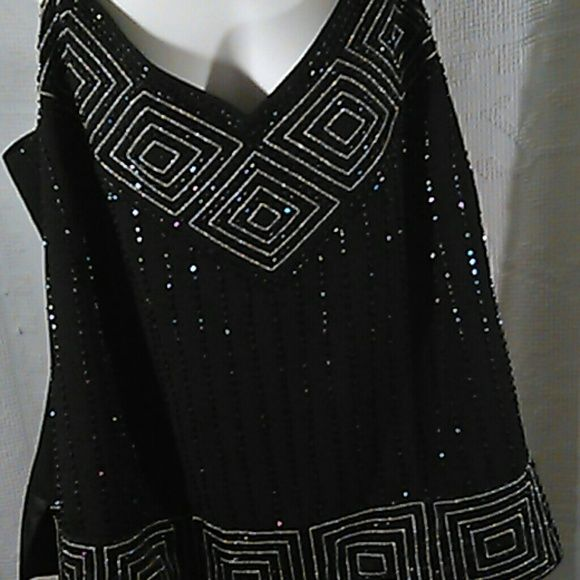 Plus size beaded top Perfect for special occasions. Detailed beading. Great condition. r & m Richards Tops