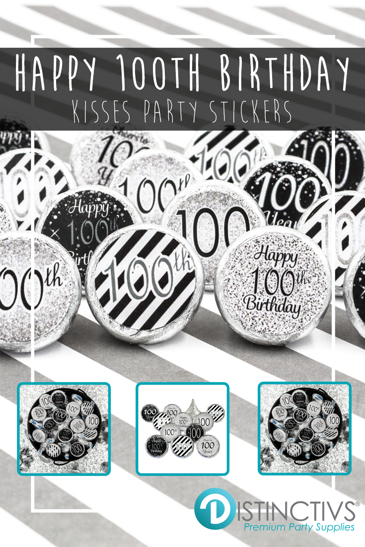 Happy 100th Birthday Celebrate The Guest Of Honor In Stylish Silver And Black For Their Milestone Event Your Set 324 Pre Cut