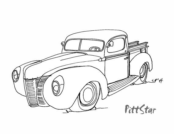 digital line art vintage 1940 u0026 39 s ford pickup truck by