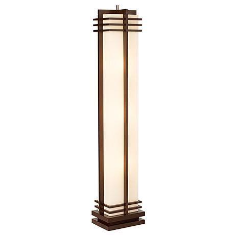 Possini Euro Design Deco Style Walnut Column Floor Lamp