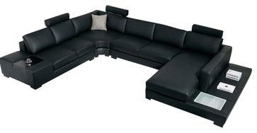 T35 Black Leather Sectional Sofa With Light Contemporary
