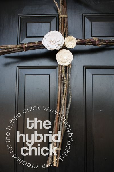 Rustic Easter Cross Made From Twigs