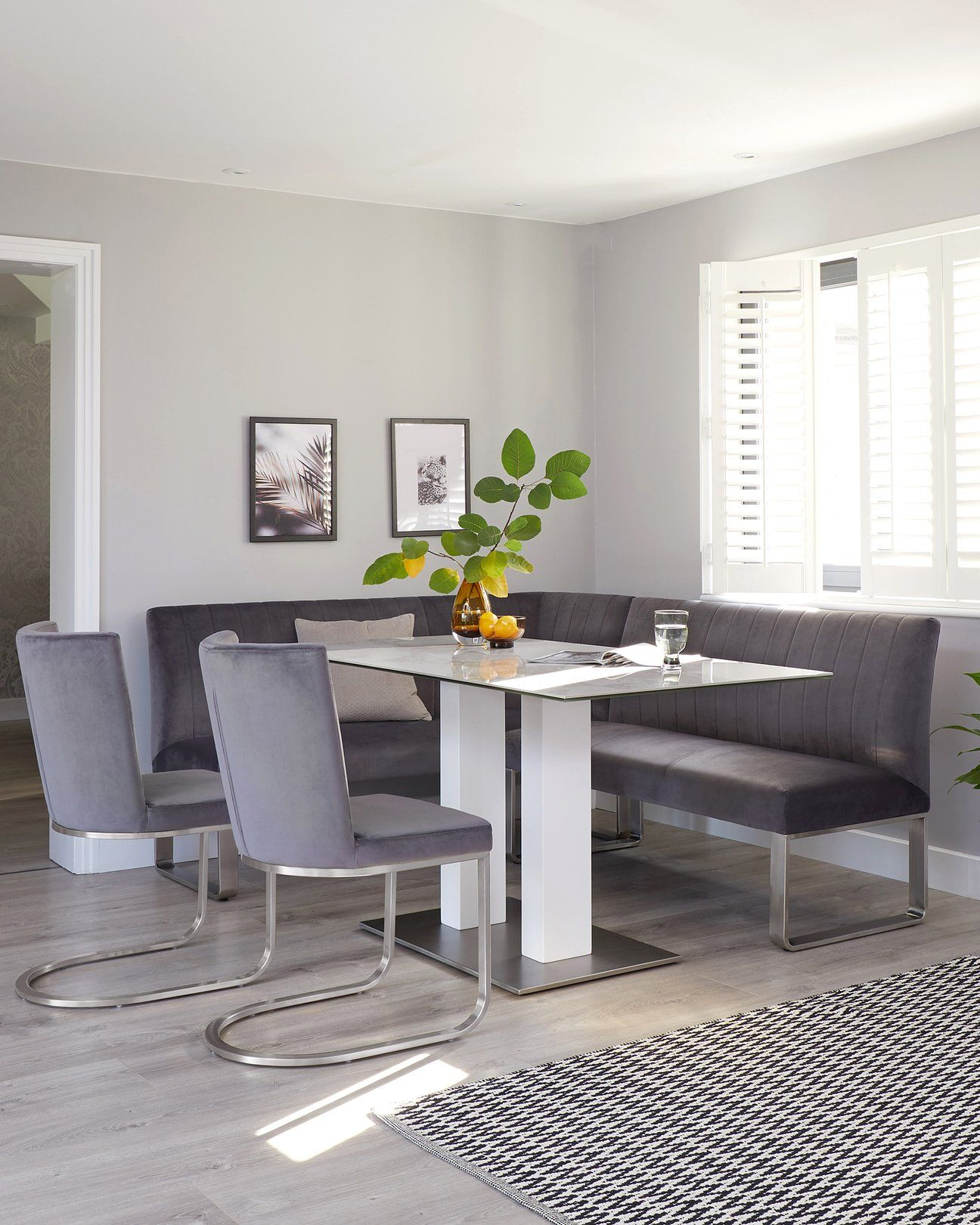 Mia Ceramic With Ophelia Corner Bench And Form Velvet Dining Set