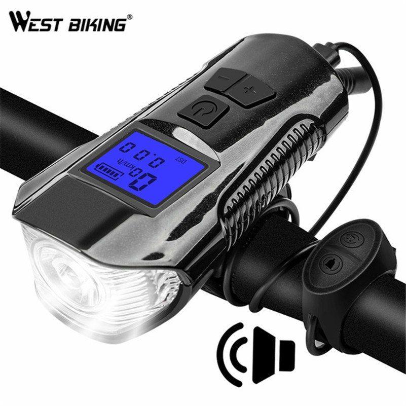 USB Rechargeable LED Bicycle Headlight Handlebar Phone Holder Bike Cycling Horn