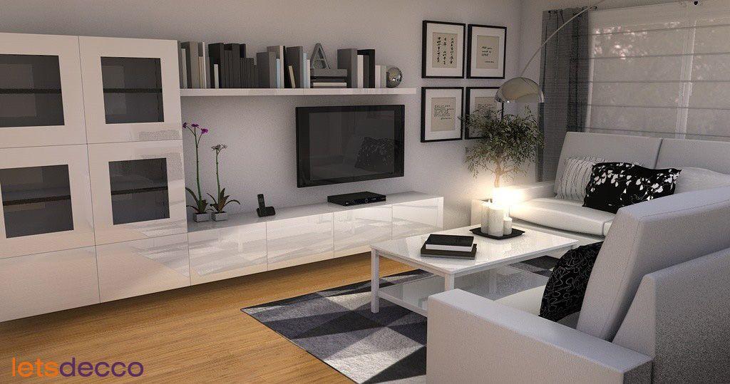 Besta unit with shelf above tv Projekty salonów