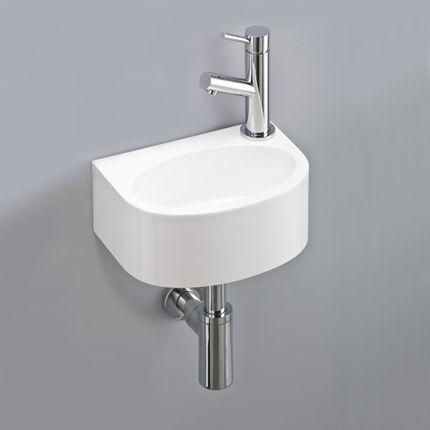 lave mains faible profondeur 27 5x19 5 cm de forme semi arrondie aux contours aigus avec cuve. Black Bedroom Furniture Sets. Home Design Ideas