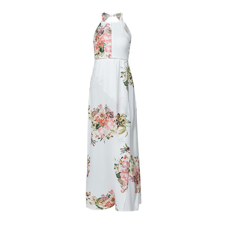 White Chiffon Front Silt Casual Style Backless Halter Top: HALTER OPEN BACK FLORAL MAXI DRESS