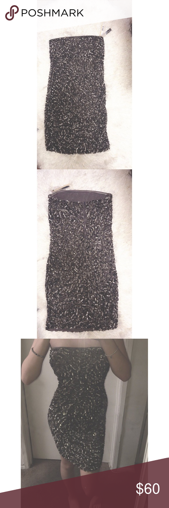 Black / Grey Bedazzled Dress 💯 same day, next day shipping.  🚫 sorry! no trades.  💭 don't hesitate, ask away questions! 💟 happy poshing ➡️ feel free to follow me on ig: @xonicolesk  never worn ; brand new ; w tags ; perfect for new years ; back zipper (from alice + olivia) listed as windsor for views WINDSOR Dresses Strapless