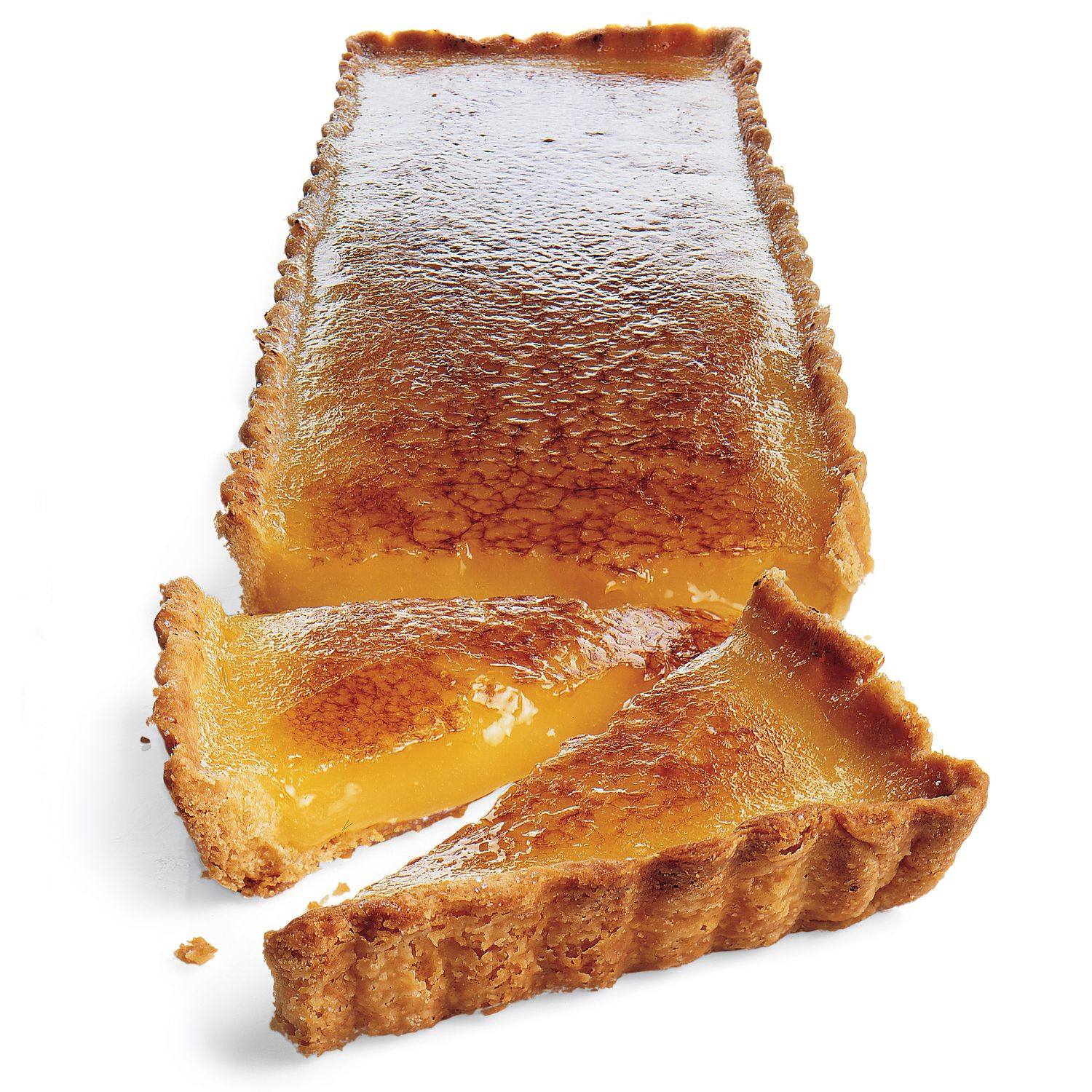 Like a creme brulee, this dessert has crunchy caramelized sugar on top. But a silky lemon filling is below, chilled in a crisp tart shell made with pate sucree.