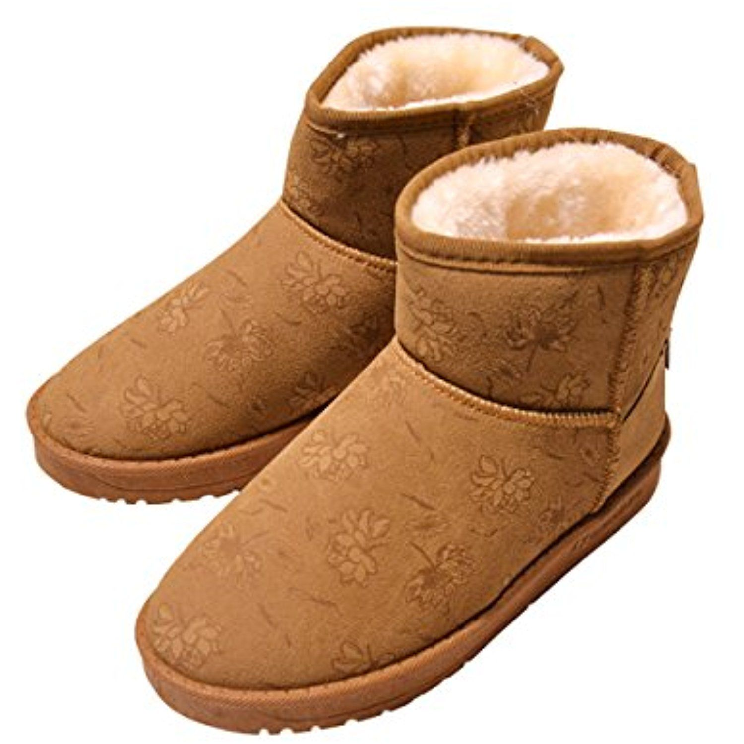 Faux Fur Lining Snow Boots Women's Fashion Ankle High Flat Heel Warm Shoes By VFDB