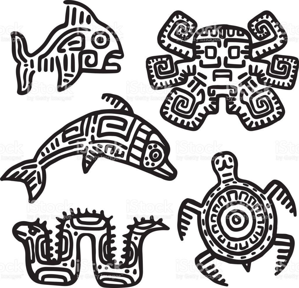 Mayan Art Animals Vector Set Slow Turtle Active Dolphin