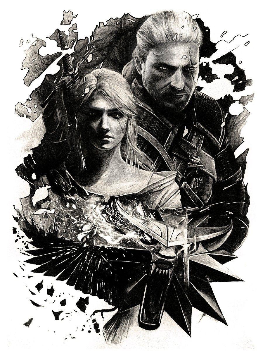 Geralt and Ciri - The Witcher (pencil drawing) by WildGoska on DeviantArt