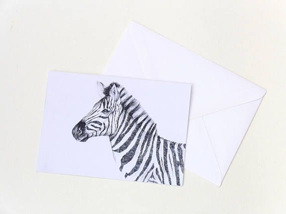 Zebra Card Zebra Art Handmade Card All Occasion Card Pen