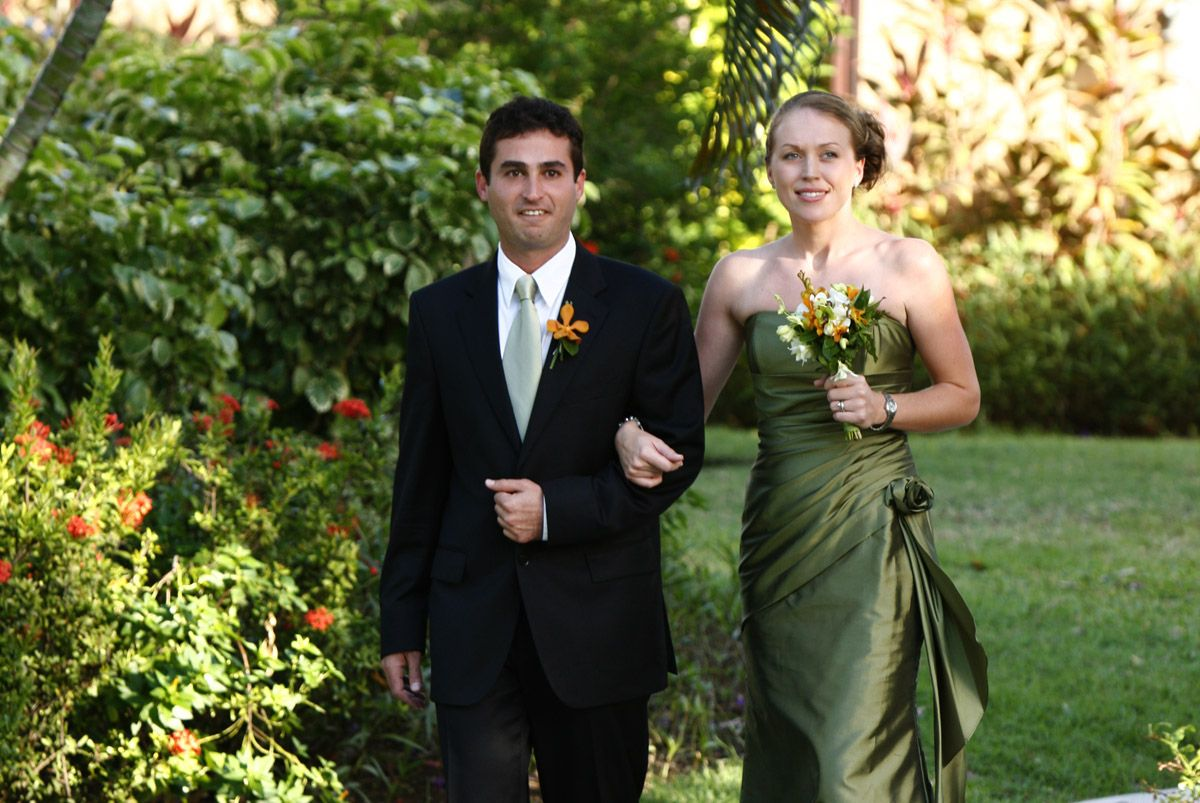 Olive green bridesmaids dresses st lucia wedding