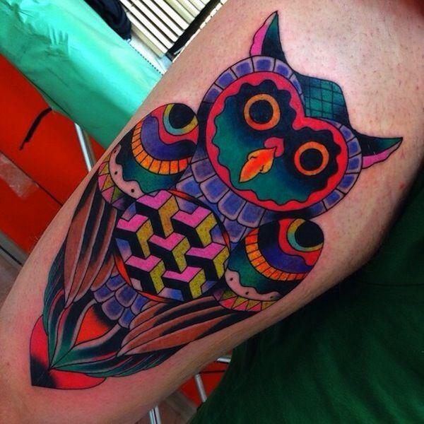 Colorful Geometric Owl Tattoo Design For Arm Colorful Owl Tattoo Owl Tattoo Owl Tattoo Design