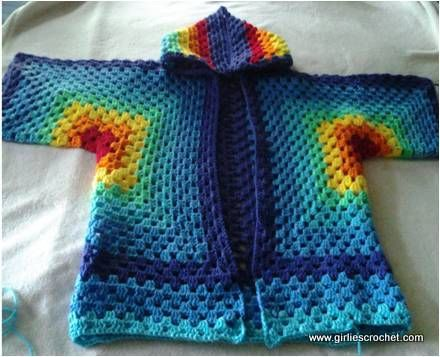 This is a free crochet pattern for Hexagonal Hooded Cardigan, this ...