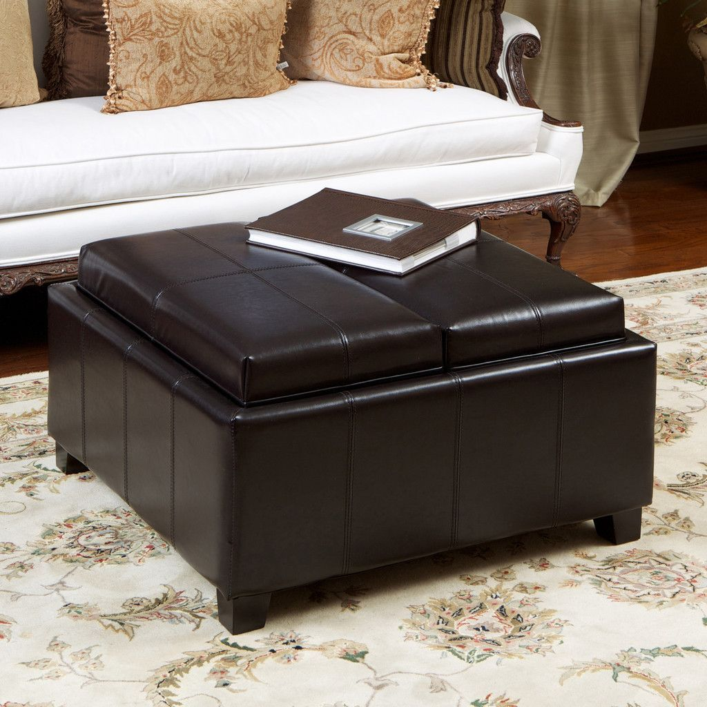 Plymouth 2 Tray Top Espresso Leather Storage Coffee Table