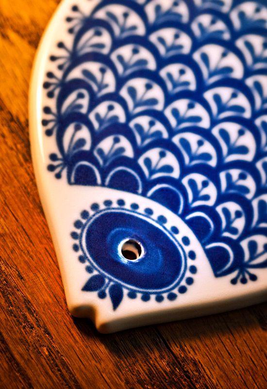Blue Fish Trivet Norway Ceramic Fish Fishing Decor Painted Ceramic Plates
