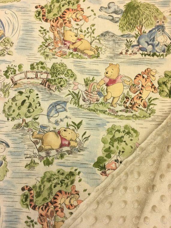 Winnie The Pooh Baby Blanket Gender Neutral Minky Lovey Etsy Gender Neutral Baby Blanket Baby Blanket Winnie The Pooh