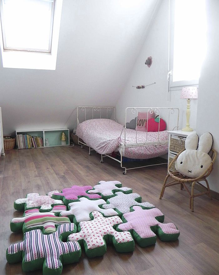 Playing with Poufs | Puzzle pieces, Kids rooms and Pillows