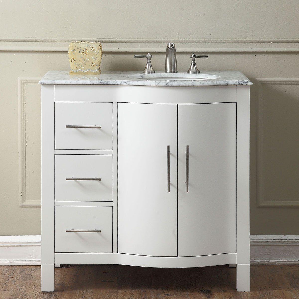 36 inch Single Sink Bathroom Vanity Cabinet White Finish, Carrara ...