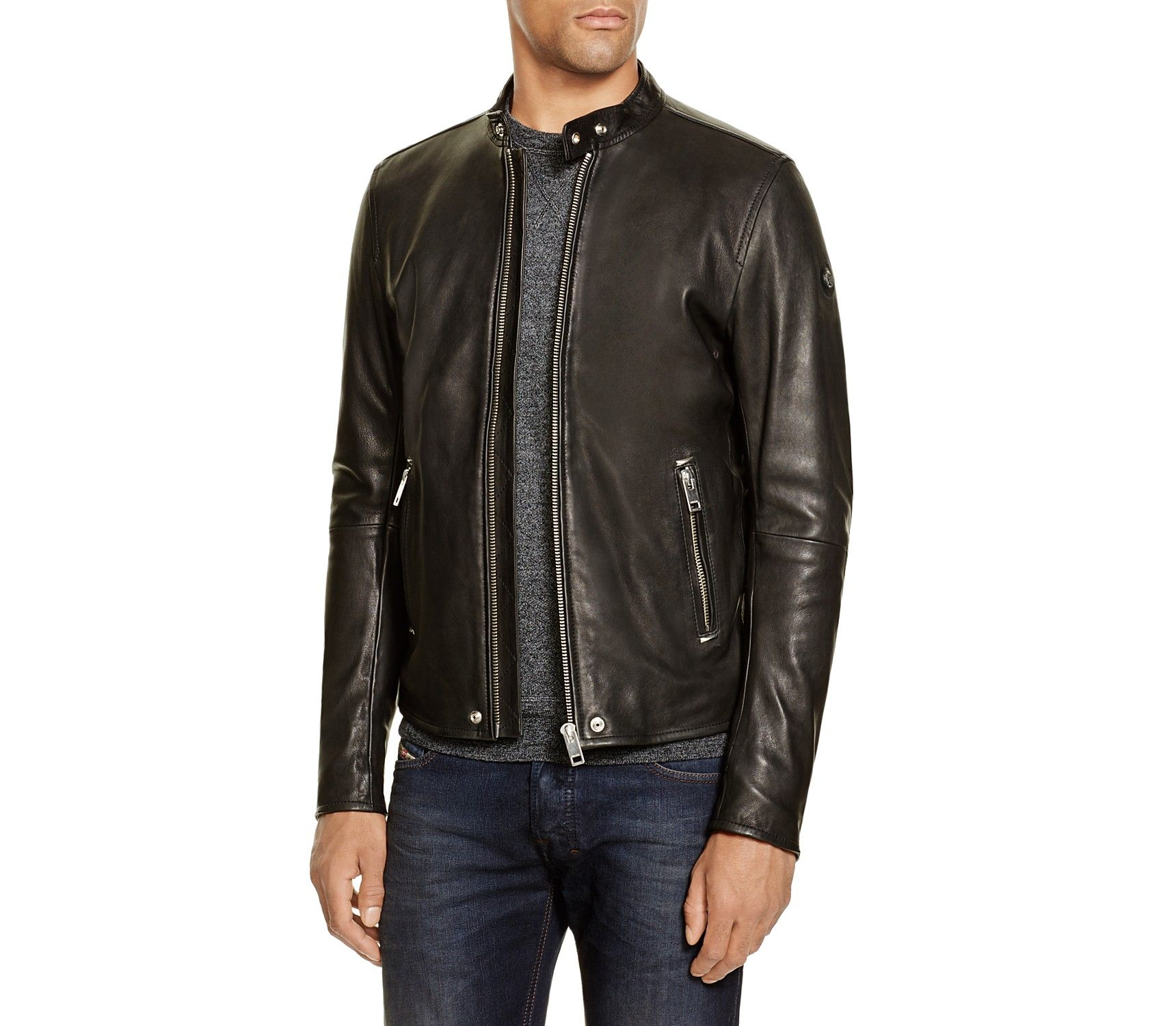 Diesel L Roshi Leather Jacket Men Coats Jackets Leather Shearling Suede Bloomingdale S Leather Jacket Leather Jackets Online Jackets [ 1500 x 1720 Pixel ]