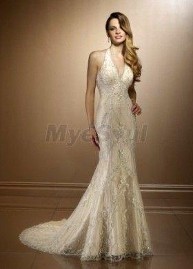 168ab498f942 Trumpet/Mermaid Halter Chapel Train Satin Lace Wedding Dress | dress ...