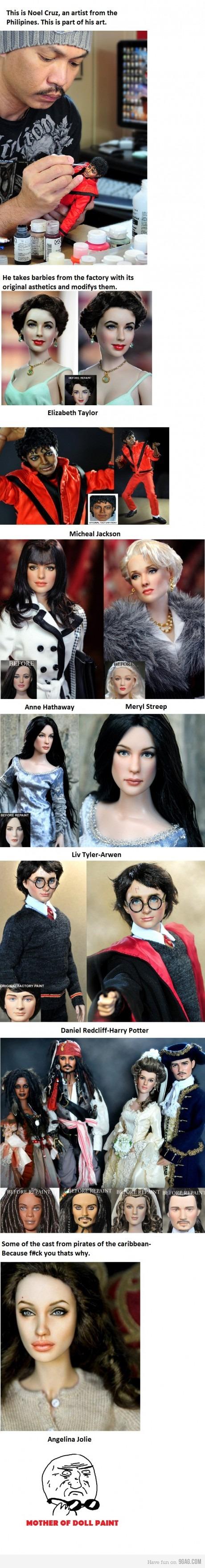 Repainted Barbies