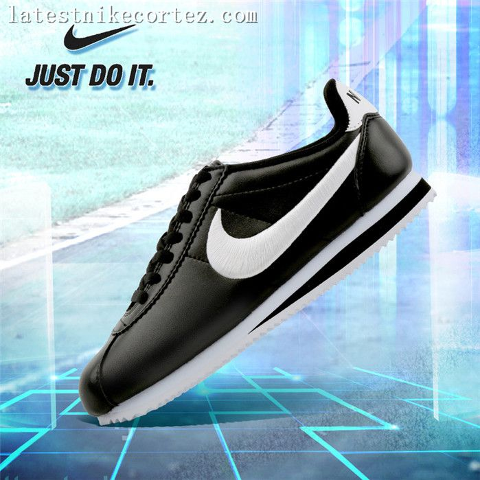 2017 Nike Classic Cortez Leather And EM Womens Jogging Shoes Black White