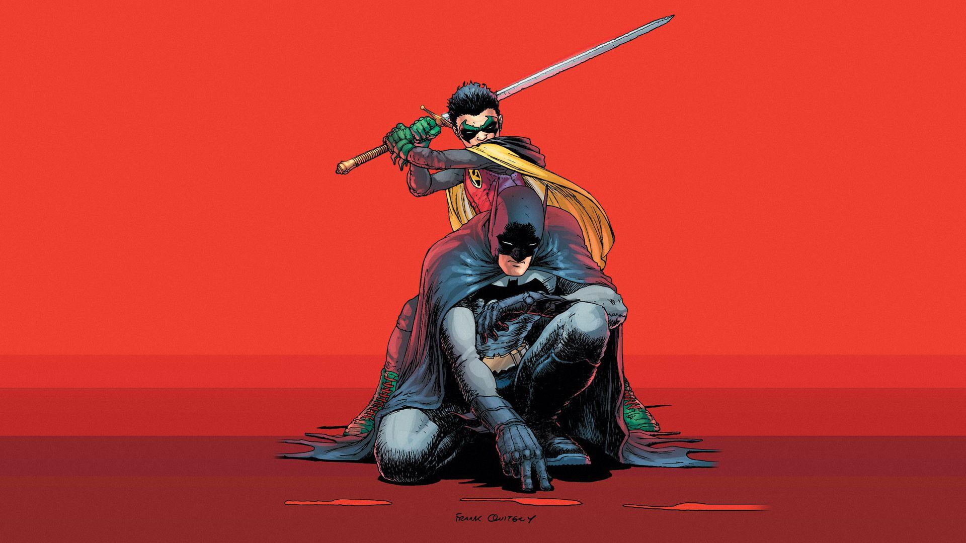 Batman Dc Comics Superheroes Robin Character Bruce Wayne Damian Wayne Dynamic Duo Wal Batman And Robin Batman And Robin Wallpaper Robin Comics