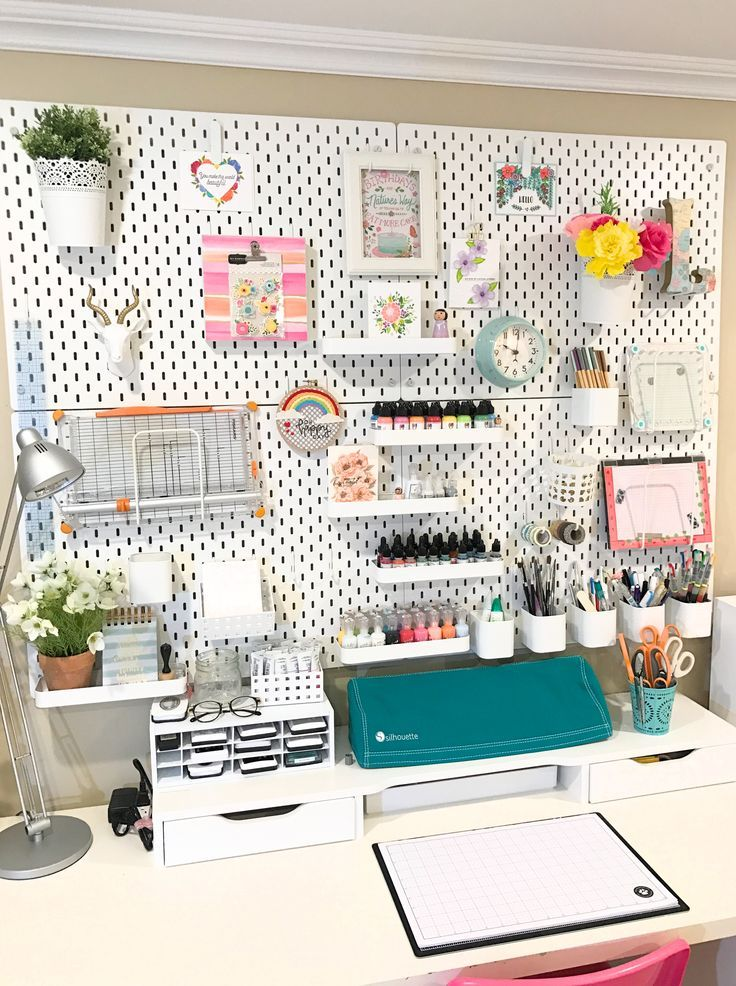 IKEA Skadis craft room pegboard/craft room organization makeover #craftroommakeovers
