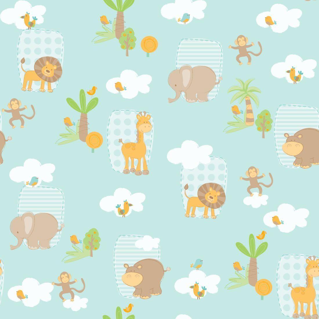 papel de parede bambinos safari azul 3300 recem nascido