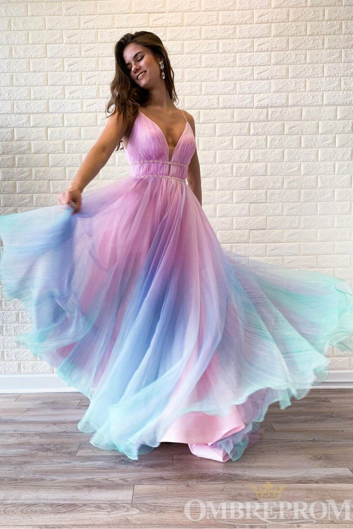 Ombre Spaghetti Straps Sleeveless A Line Prom Dres