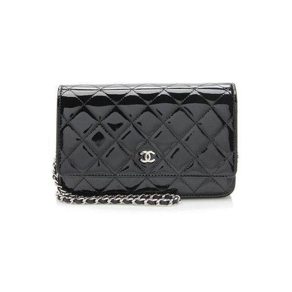 64aea863a45 Rental Chanel Patent Leather Classic Wallet on Chain Bag (400 BAM) ❤ liked  on Polyvore featuring bags, wallets, black, chain crossbody bag, woven  wallet, ...