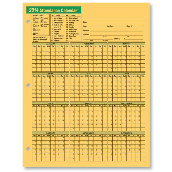 2014 attendance 2014 - Attendance Calendar - A1407-14 Places - employee attendance record template