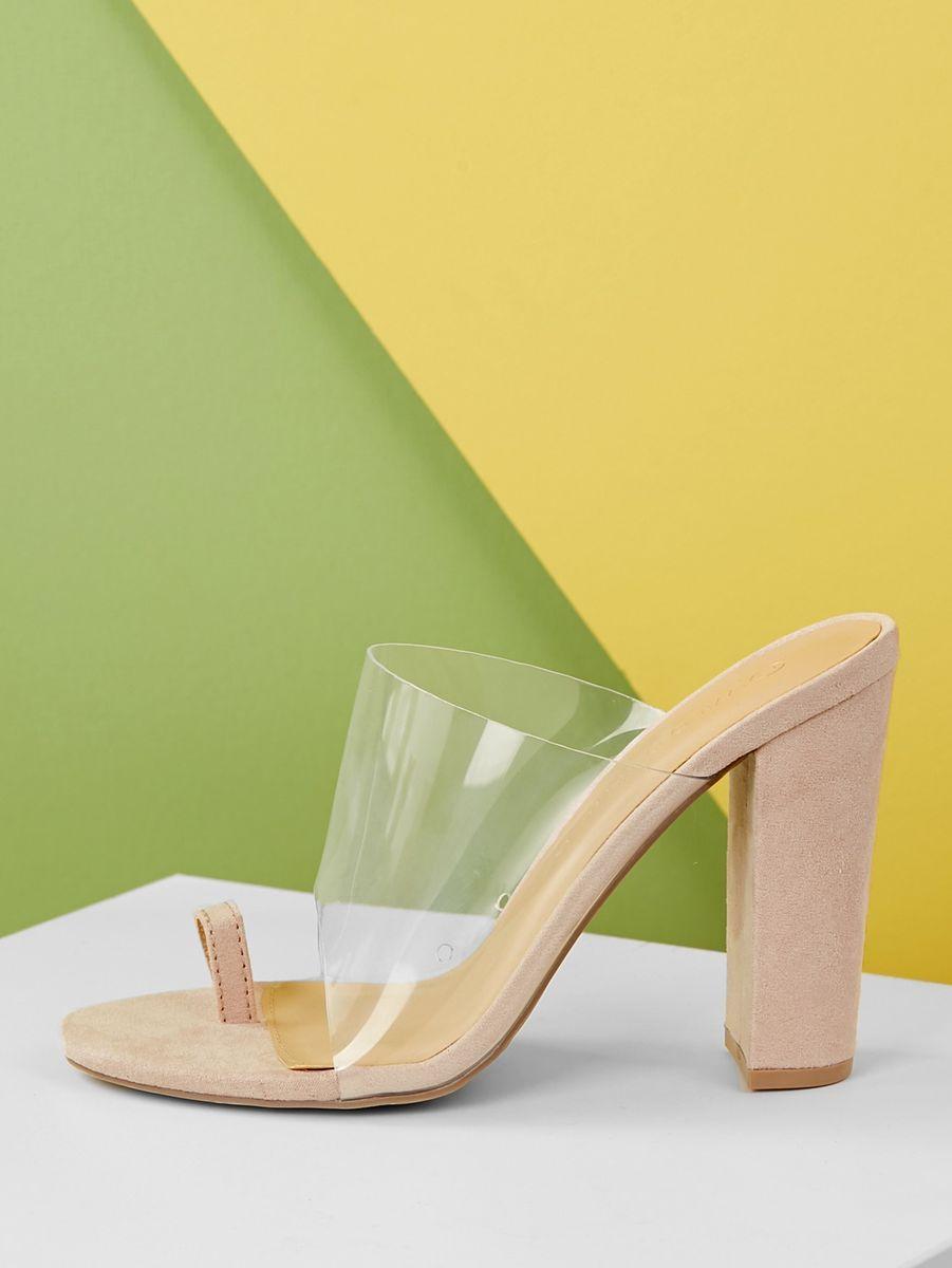 5836c15b76b Toe Ring Transparent Band Block Heel Sandals in 2019 | Shoes | Heels ...