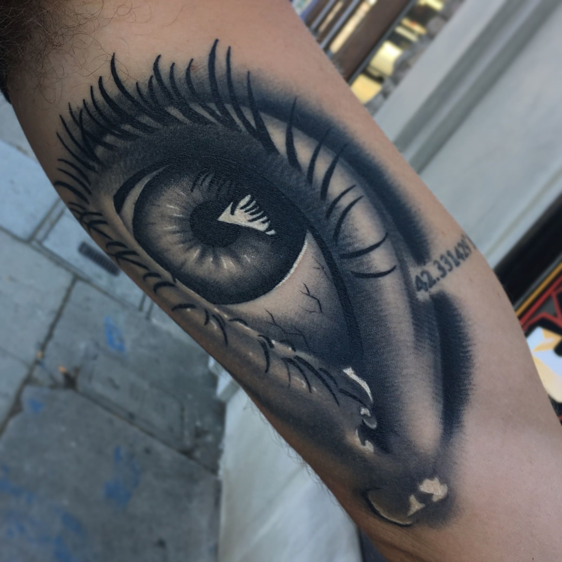 Black and Grey Eye Tattoo on inner arm. Eye tattoos. Best