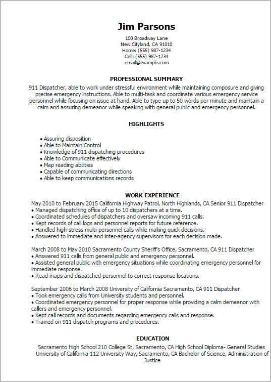 Resume Examples 911 Dispatcher Resume Examples Resume Objective Examples Rn Resume Resume Examples
