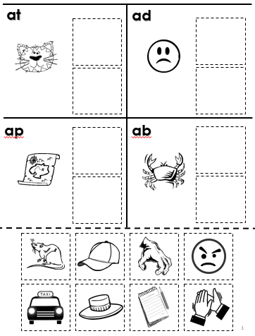 Free Rhyming Cut and Paste Worksheet--Phonological Awareness ...