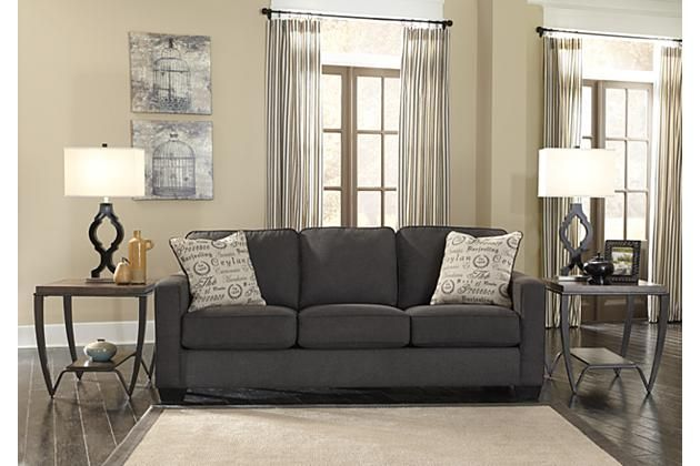 sofa in grey along with end tables and a rug for your living room